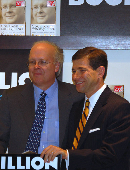 "Karl Rove at a book signing in Birmingham with William ""Bill"" Pryor who President George W. Bush appointed to the U.S. Eleventh Circuit Court of Appeals in Atlanta as a political payoff for beginning the prosecution of former Alabama Governor Don Siegelman. Rove denied even knowing Pryor in a hearing before the House Judiciary Committee, even though he ran his campaign for Attorney General of Alabama in 1998. When Pryor greeted Rove at this event at Brookwood Mall, he said, ""Hey bud,"" and they hugged: Glynn Wilson"