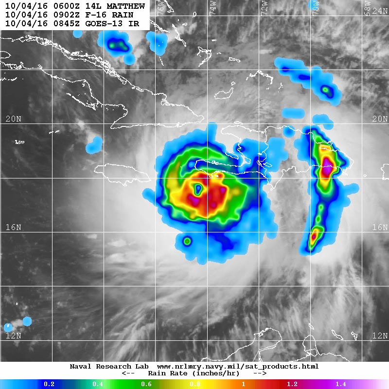 "Microwave image of rainfall rates in Hurricane Matthew from the F-16 polar orbiting satellite taken at 5:02 a.m. EDT October 4, 2016. At the time, Matthew was a Category 4 storm with 145 mph winds. Rainfall amounts in excess of 1""/hour (orange colors) were occurring along the coasts of Haiti and the Dominican Republic: NRL Tropical Cyclone Page."