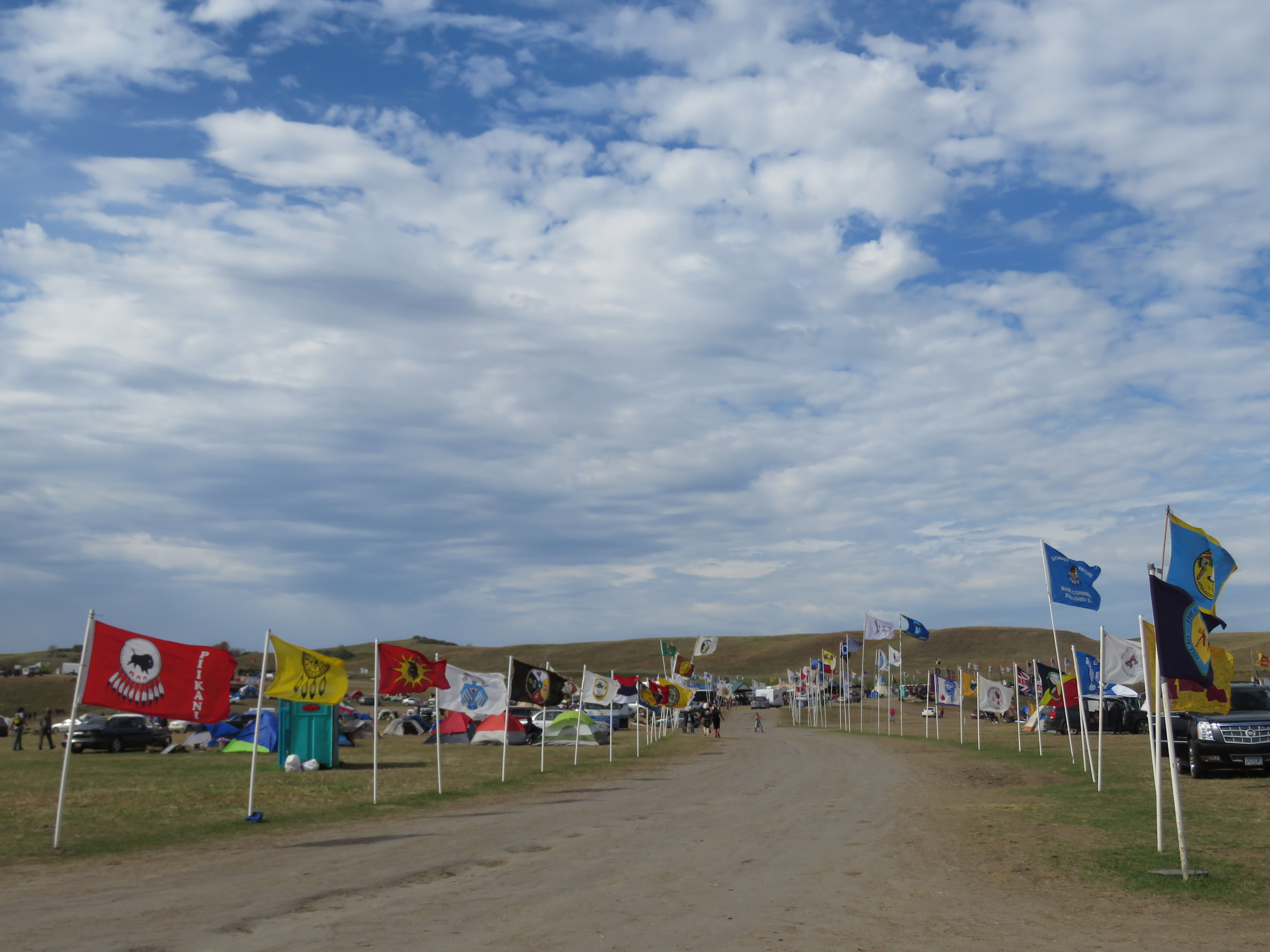 Main Street through the overflow Sacred Stone Camp with the flags of more than 300 tribes: Glynn Wilson